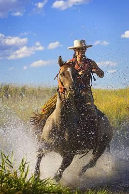 Woman Riding A Horse Art Print by Richard Wear