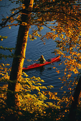 Woman Seakayaking On The Potomac River Art Print by Skip Brown