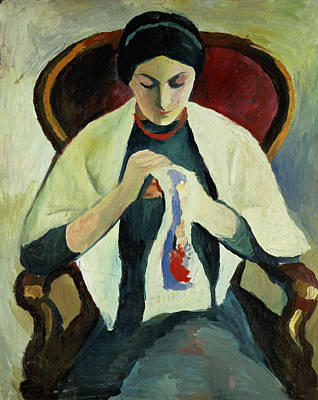1887 Painting - Woman Sewing by August Macke