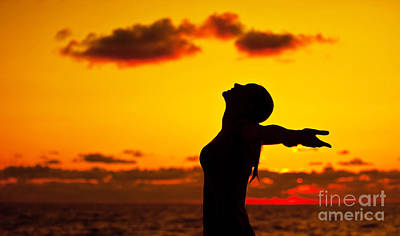 Woman Silhouette Over Sunset Art Print by Anna Om
