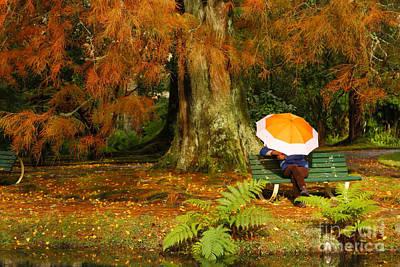 Furnas Photograph - Woman Siting With Umbrella by Gaspar Avila
