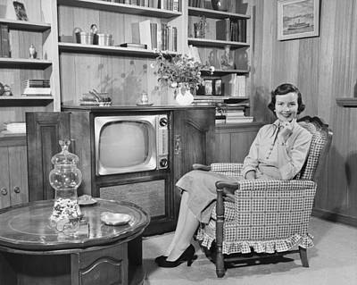 Woman Sitting In Armchair In Living Room, (b&w), Portrait Art Print by George Marks