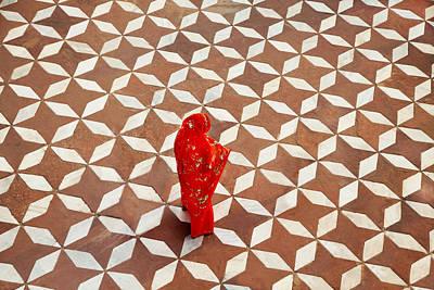 Woman Standing On Designed Flooring Art Print by Grant Faint