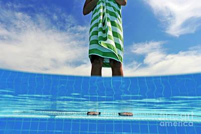 Woman Standing On Swimming Pool Ledge Art Print by Sami Sarkis