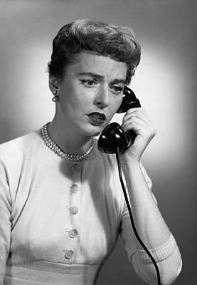 Woman Talking On Phone In Studio, (b&w) Art Print