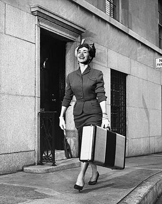 Woman Traveling Art Print by George Marks