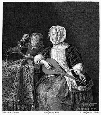 Woman Tuning A Lute Art Print by Granger