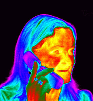 Woman Using A Mobile Phone, Thermogram Print by Dr. Arthur Tucker