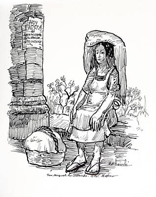 Tortillas Drawing - Woman Vendor by Bill Joseph  Markowski