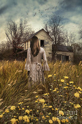 Photograph - Woman Walking In Field Towards Abandoned Farmhouse  by Sandra Cunningham