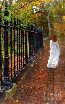 Woman Walking In Long White Gown Art Print by Jill Battaglia