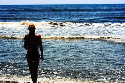 Photograph - Woman Walking Into Ocean Surf  by Susan Stevenson
