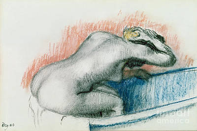 Hair-washing Pastel - Woman Washing In The Bath by Edgar Degas