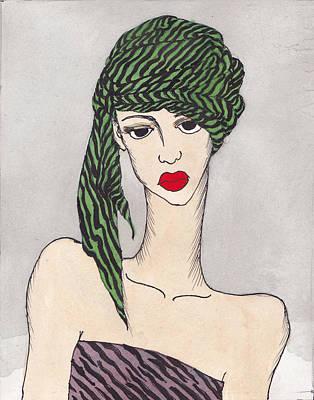 Woman Wearing A Turban Art Print by Dorrie Ratzlaff