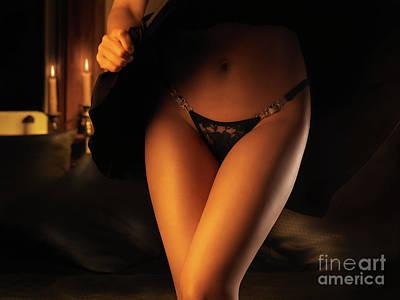 Suggestive Photograph - Woman Wearing Black Lacy Panties by Oleksiy Maksymenko