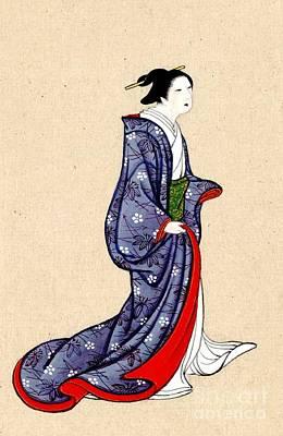 Woman Wearing Robe And Kimono 1878 Art Print