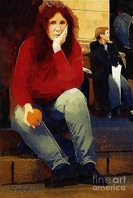 Library Digital Art - Woman With An Orange by RC deWinter