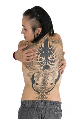Woman With Large Tattoo On Her Back Art Print