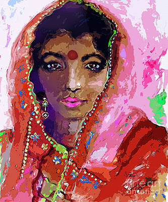 Woman With Red Bindi Indian Beauty Art Print by Ginette Callaway