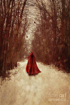 Photograph - Woman With Red Cape Walking In Woods by Sandra Cunningham