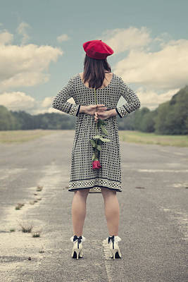 Asphalt Photograph - Woman With Red Rose by Joana Kruse