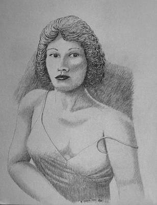 Drawing - Woman With Strap Off Shoulder by Daniel Reed
