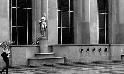 Woman With Umbrella At The Palais Du Trocadero Art Print by Louis Nugent