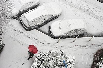 Woman With Umbrella Under Snow Art Print