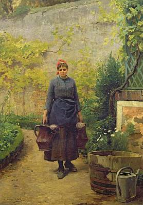 Ground Painting - Woman With Watering Cans by L E Adan