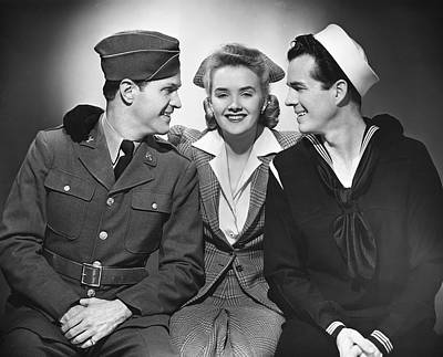 Woman W/two Military Men Art Print by George Marks