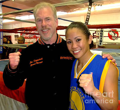 Long Hair Photograph - Woman's Boxing Champion Filipino American Ana Julaton And Myself by Jim Fitzpatrick