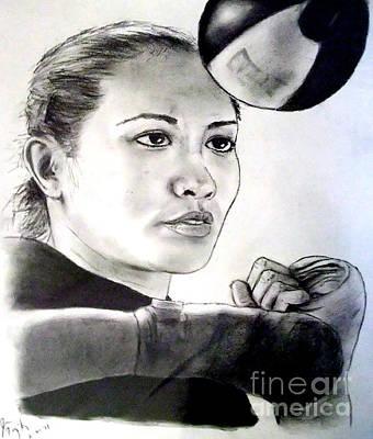 Drawing - Woman's Boxing Champion Filipino American Ana Julaton by Jim Fitzpatrick