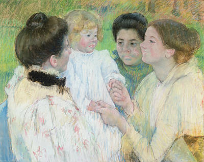 Woman Holding Baby Painting - Women Admiring A Child by Mary Stevenson Cassatt