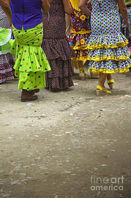 Women And Flamenco Dresses Art Print by Perry Van Munster