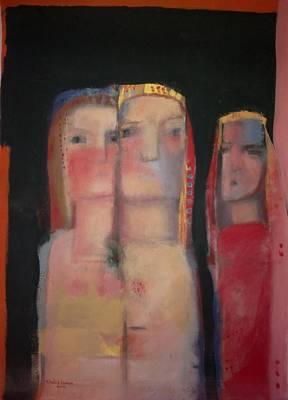 Painting - women in a street II by Khalid Alaani