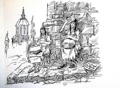 Tortillas Drawing - Women Selling Tortillas by Bill Joseph  Markowski