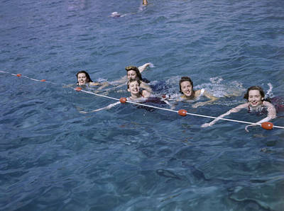 Women Swim In A Municipal Swimming Pool Art Print by B. Anthony Stewart
