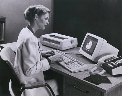 Women Using And Early Personal Computer Art Print