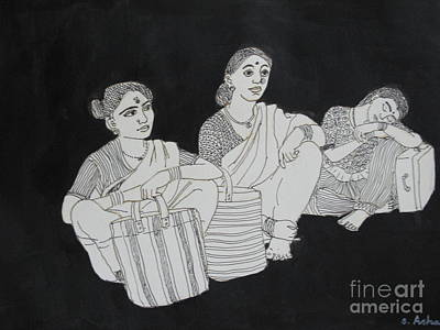 Drawing - Women Waiting For The Bus by Asha Sudhaker Shenoy
