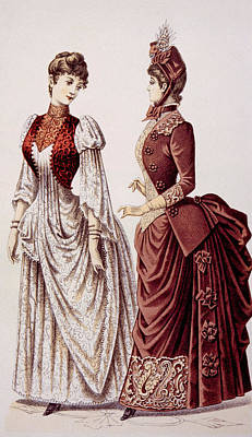 Womens Fashions As Pictured In Godeys Art Print by Everett