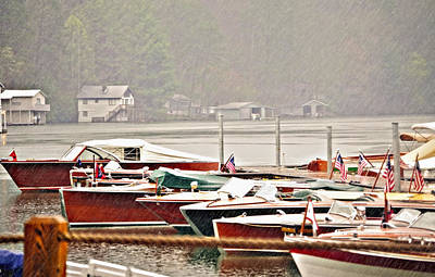 Wood Boats In The Rain Art Print