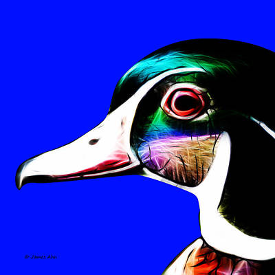 Wood Duck Digital Art - Wood Duck - Blue by James Ahn