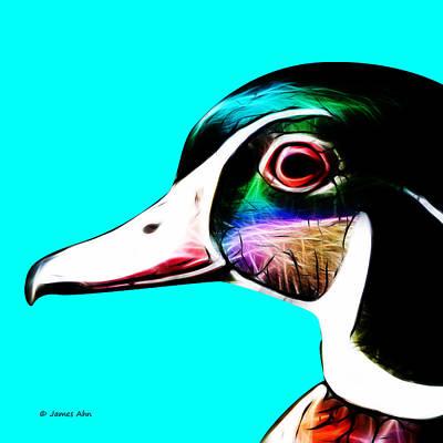 Wood Duck Digital Art - Wood Duck - Cyan by James Ahn