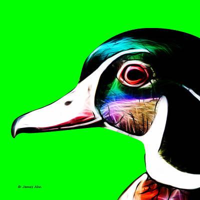 Wood Duck Digital Art - Wood Duck - Green by James Ahn