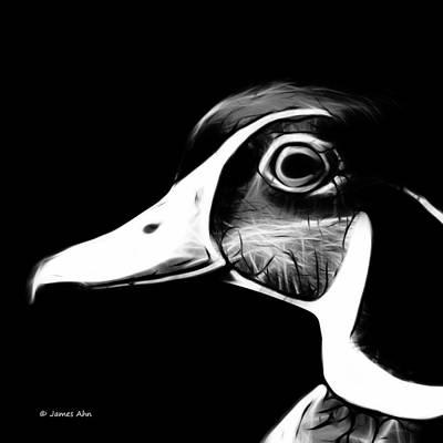 Wood Duck Digital Art - Wood Duck - Greyscale by James Ahn