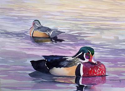 Painting - Wood Ducks by Richard Willows