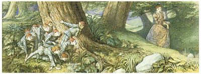Elf Painting - Wood Elves Hiding And Watching A Lady by Richard Doyle