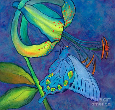 Wood Lily And Swallowtail Original by Rainelle Meridith