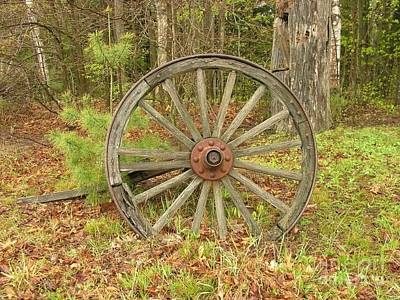 Art Print featuring the photograph Wood Spoked Wheel by Sherman Perry