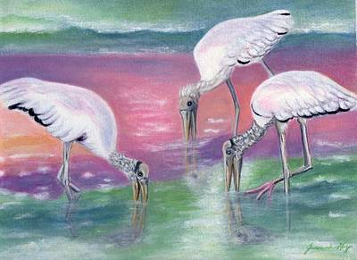 Painting - Wood Stork Family At Sunset by Jeanne Kay Juhos